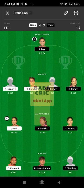 DHAW vs BOKW (Jharkhand Women T20-2021) Dream11 Grand League Team 3