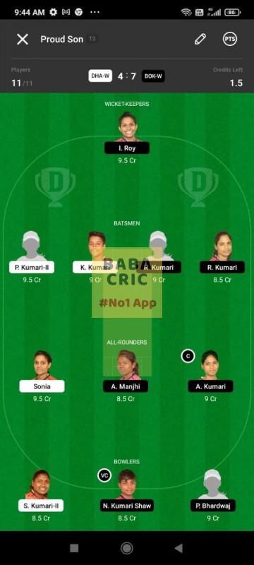 DHAW vs BOKW (Jharkhand Women T20-2021) Dream11 Grand League Team 5
