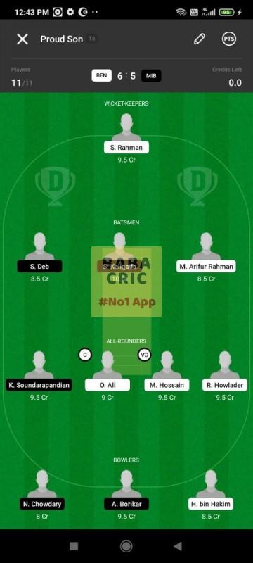 BEN vs MIB (ECS T10- Barcelona) Dream11 Grand League Team 1