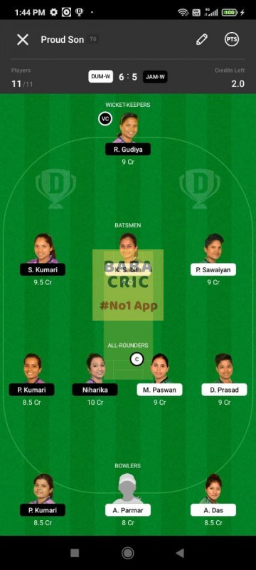 DUMW vs JAMW (Jharkhand Women T20- 2021) Dream11 Grand League Team 1