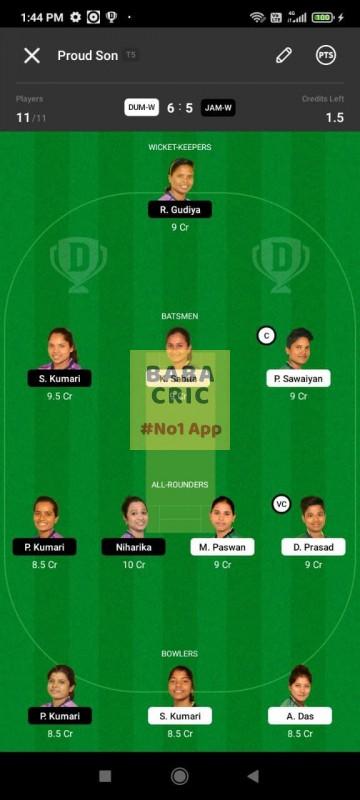 DUMW vs JAMW (Jharkhand Women T20- 2021) Dream11 Grand League Team 2