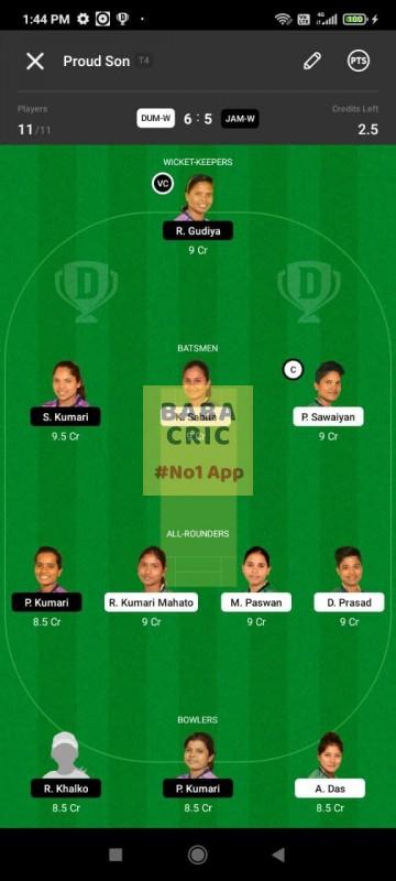 DUMW vs JAMW (Jharkhand Women T20- 2021) Dream11 Grand League Team 3