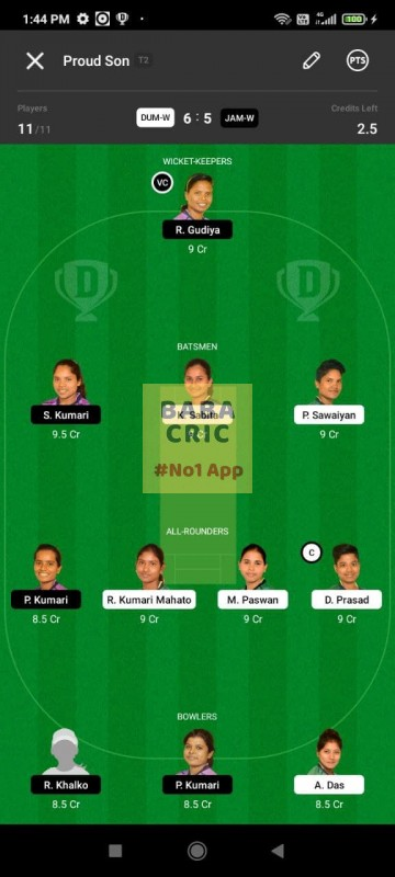 DUMW vs JAMW (Jharkhand Women T20- 2021) Dream11 Grand League Team 5