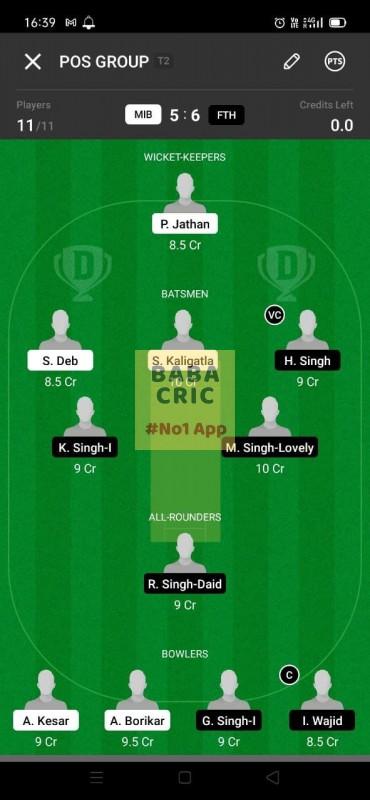 MIB vs FTH (ECS T10- Barcelona) Dream11 Grand League Team 1