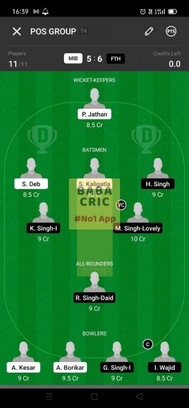 MIB vs FTH (ECS T10- Barcelona) Dream11 Grand League Team 3