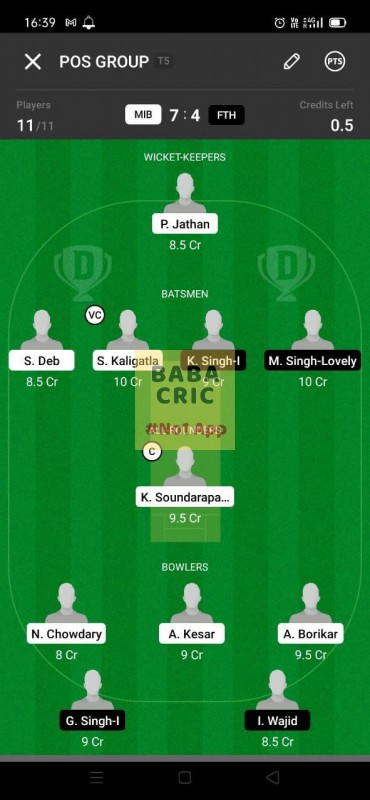 MIB vs FTH (ECS T10- Barcelona) Dream11 Grand League Team 4