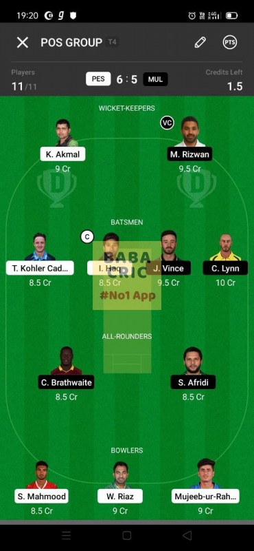 PES vs MUL (Pakistan Super League T20- 2021) Dream11 Grand League Team 1