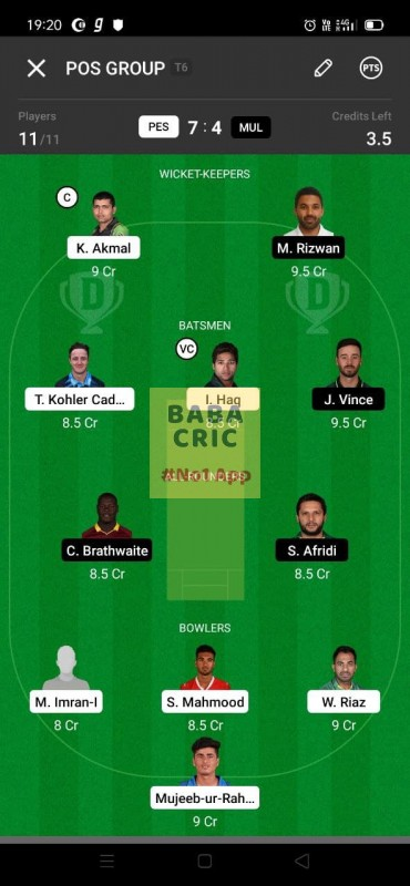 PES vs MUL (Pakistan Super League T20- 2021) Dream11 Grand League Team 2