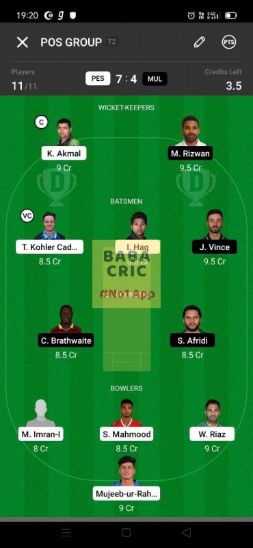 PES vs MUL (Pakistan Super League T20- 2021) Dream11 Grand League Team 4