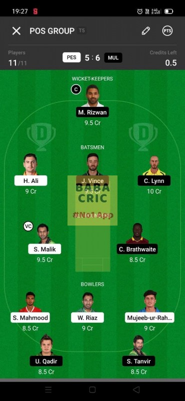 PES vs MUL (Pakistan Super League T20- 2021) Dream11 Grand League Team 5