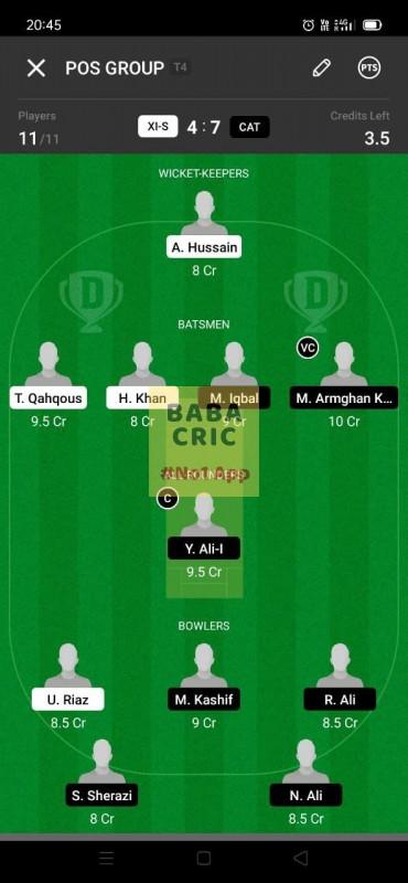 XIS vs CAT (ECS T10- Barcelona) Dream11 Grand League Team 1