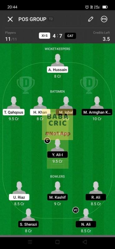 XIS vs CAT (ECS T10- Barcelona) Dream11 Grand League Team 3