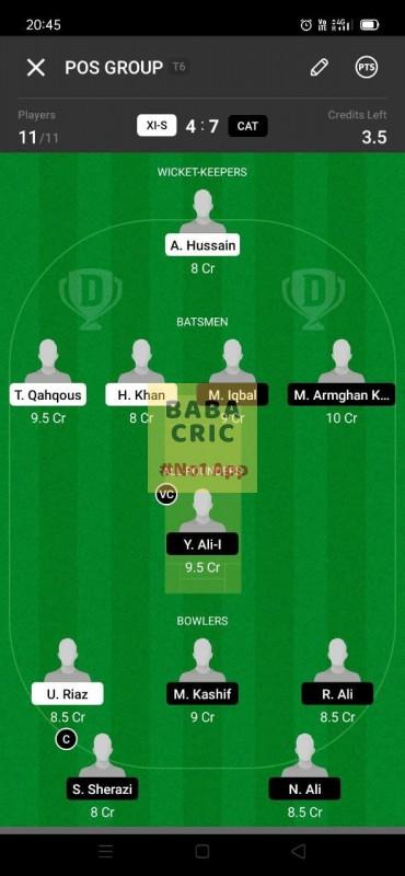 XIS vs CAT (ECS T10- Barcelona) Dream11 Grand League Team 4