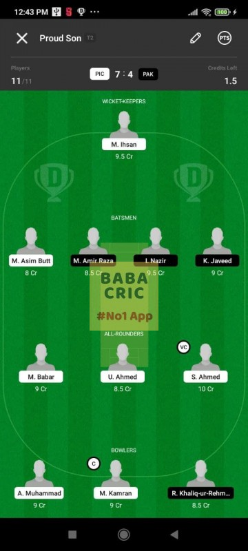 PIC vs PAK (ECS T10- Barcelona) Dream11 Grand League Team 1