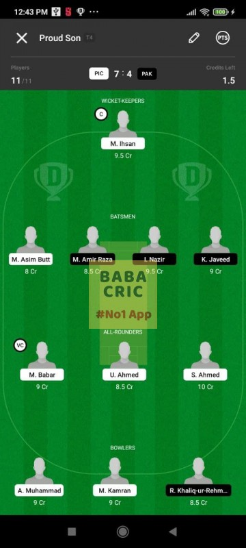 PIC vs PAK (ECS T10- Barcelona) Dream11 Grand League Team 3