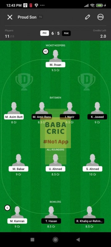 PIC vs PAK (ECS T10- Barcelona) Dream11 Grand League Team 5