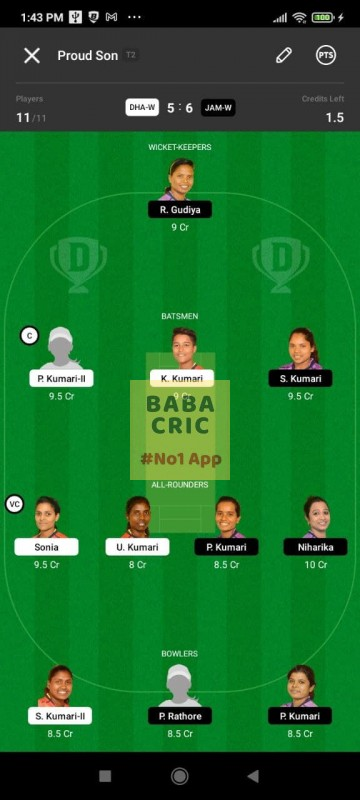 DHAW vs JAMW (Jharkhand Women T20-2021) Dream11 Grand League Team 1
