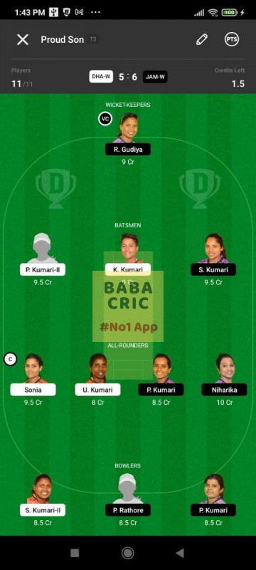DHAW vs JAMW (Jharkhand Women T20-2021) Dream11 Grand League Team 2