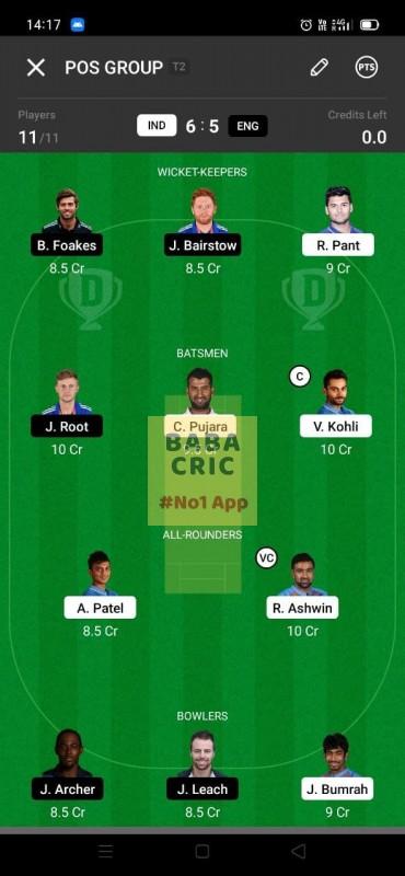 IND vs ENG - 3rd Test Dream11 Grand League Team 1