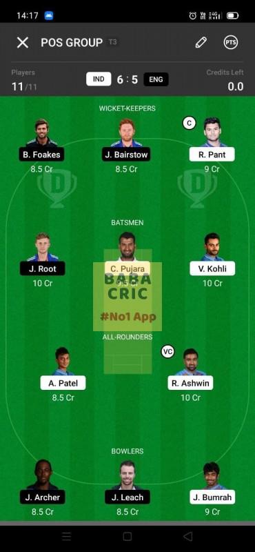 IND vs ENG - 3rd Test Dream11 Grand League Team 2