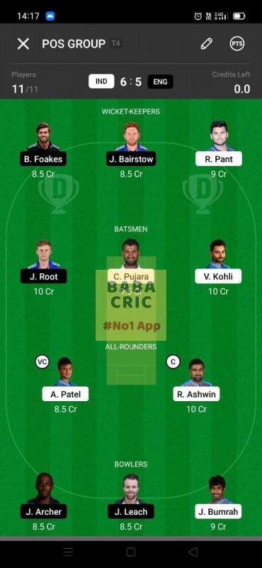 IND vs ENG - 3rd Test Dream11 Grand League Team 3