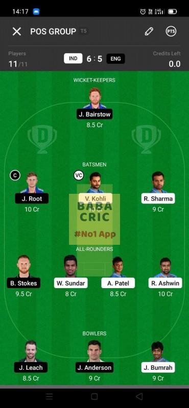 IND vs ENG - 3rd Test Dream11 Grand League Team 4