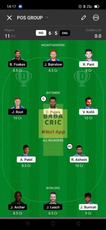IND vs ENG - 3rd Test Dream11 Grand League Team 5