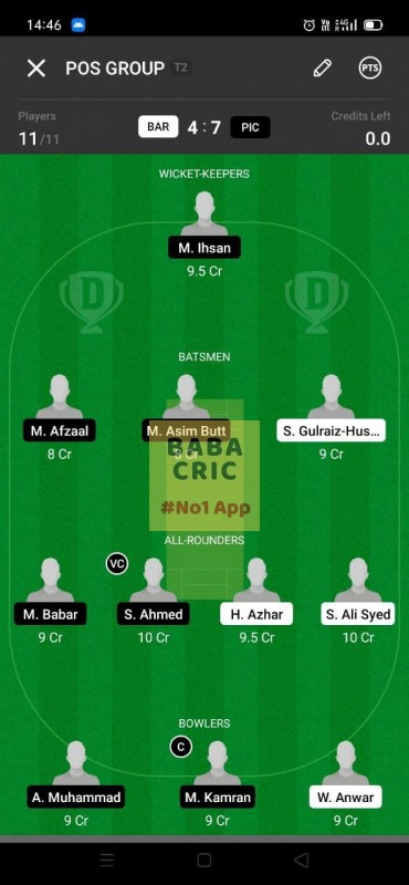BAR vs PIC (ECS T10- Barcelona) Dream11 Grand League Team 1