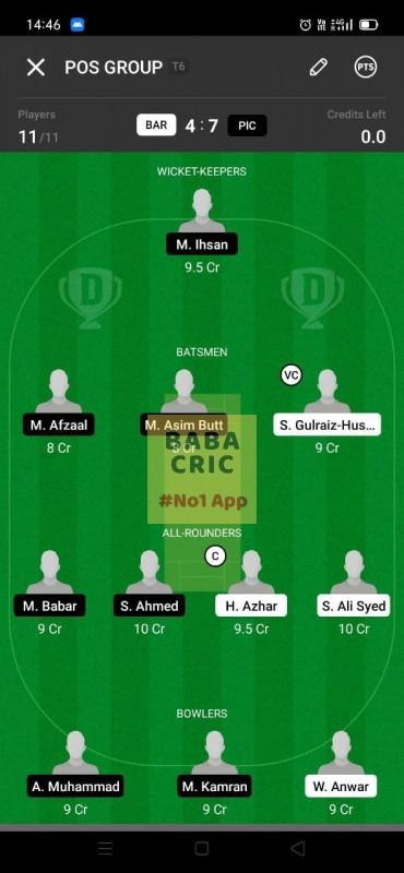 BAR vs PIC (ECS T10- Barcelona) Dream11 Grand League Team 5