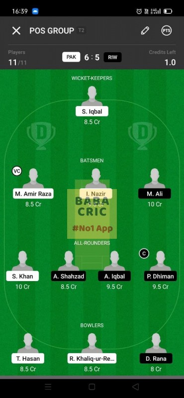 PAK vs RIW (ECS T10- Barcelona) Dream11 Grand League Team 1