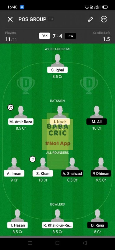 PAK vs RIW (ECS T10- Barcelona) Dream11 Grand League Team 2