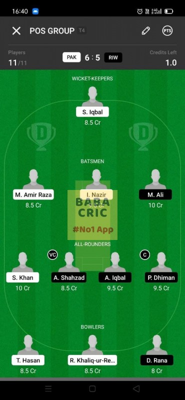 PAK vs RIW (ECS T10- Barcelona) Dream11 Grand League Team 3