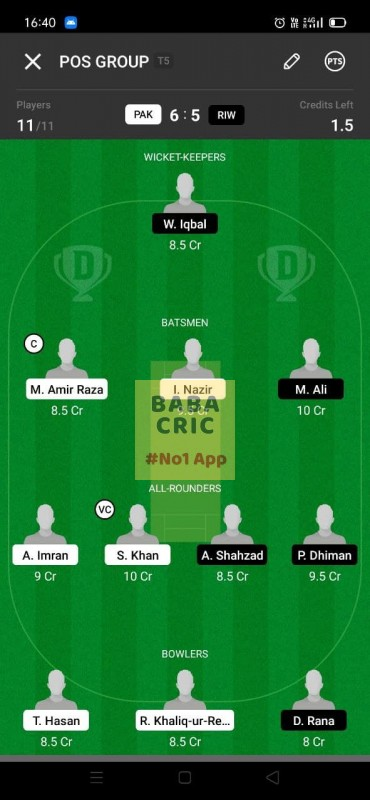 PAK vs RIW (ECS T10- Barcelona) Dream11 Grand League Team 4