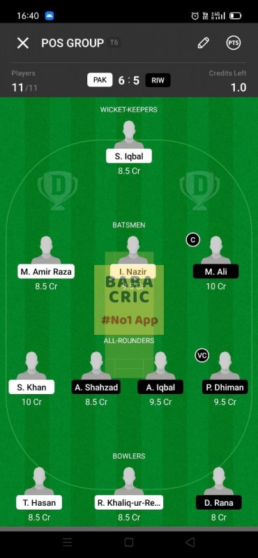 PAK vs RIW (ECS T10- Barcelona) Dream11 Grand League Team 5