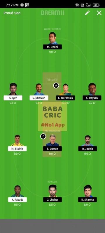 DC vs CSK (IPL 2020)