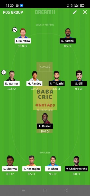 SRH vs KOL (IPL 2020)