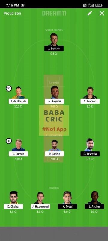 CSK vs RR (IPL 2020)