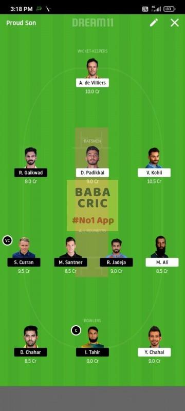 BLR vs CSK (IPL 2020)