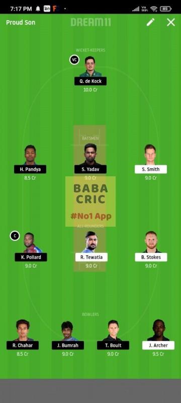RR vs MI (IPL 2020)
