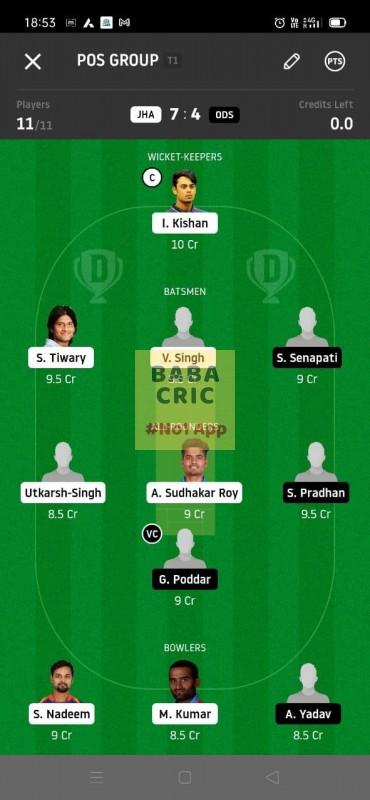 JHA vs ODS (Syed Mushtaq Ali Trophy T20)