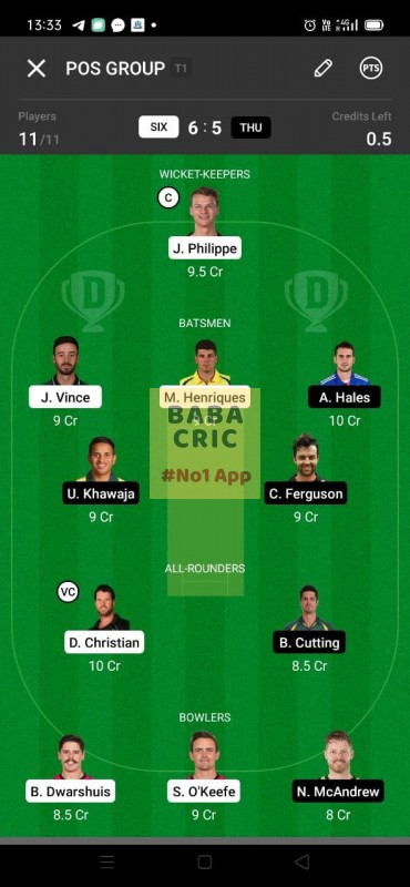 SIX vs THU (KFC Big Bash League T20)