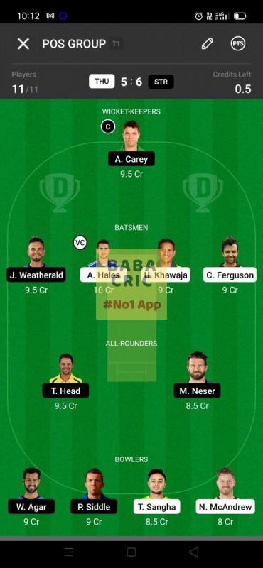 THU vs STR (KFC Big Bash League T20)