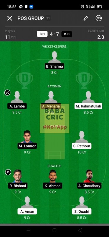 BIH vs RJS (Syed Mushtaq Ali Trophy T20)