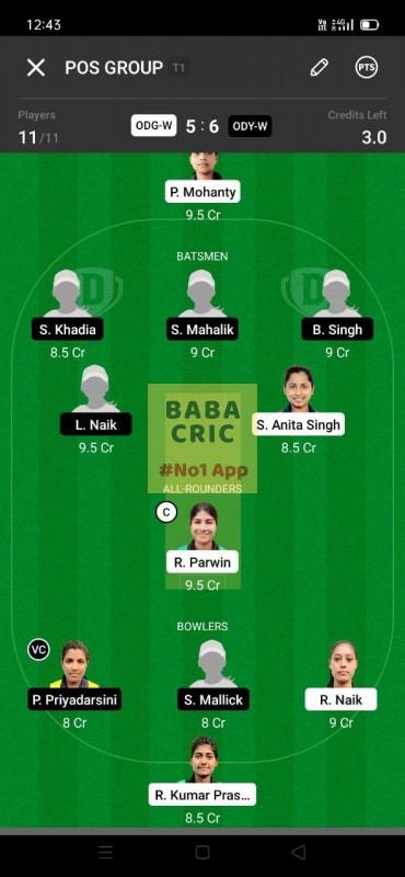 ODG-W vs ODY-W (Odisha Women Cricket League 2021)