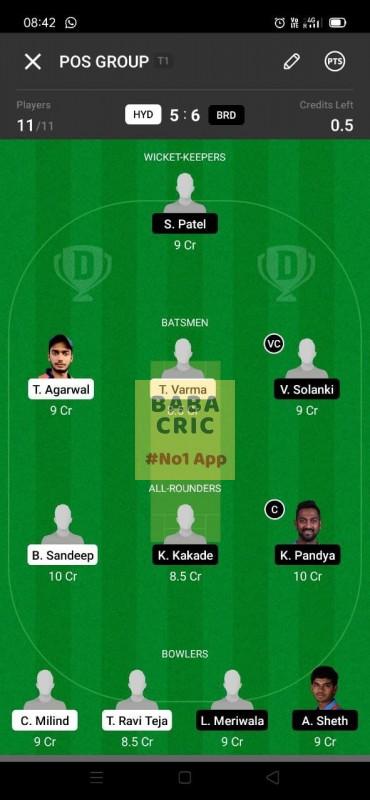 HYD vs BRD (Vijay Hazare trophy 2021)
