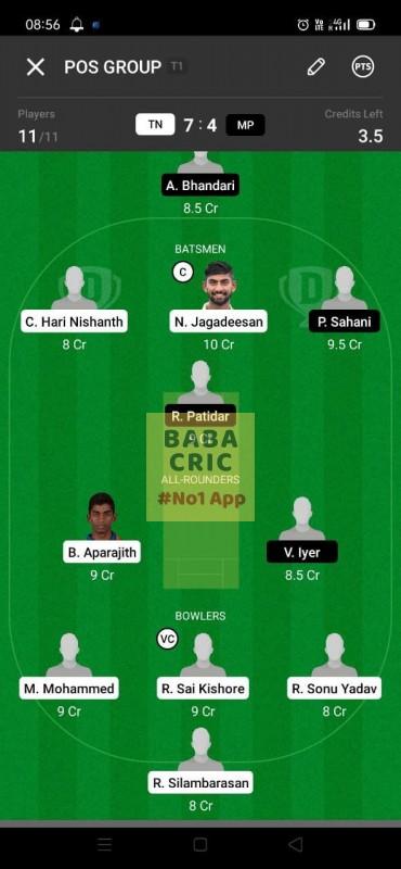 TN vs MP (vijay Hazare Trophy 2021)