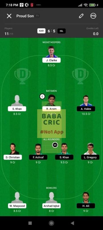 KAR vs ISL (Pakistan Super League T20- 2021)