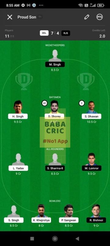 DEL vs RJS (Vijay Hazare Trophy 2021)