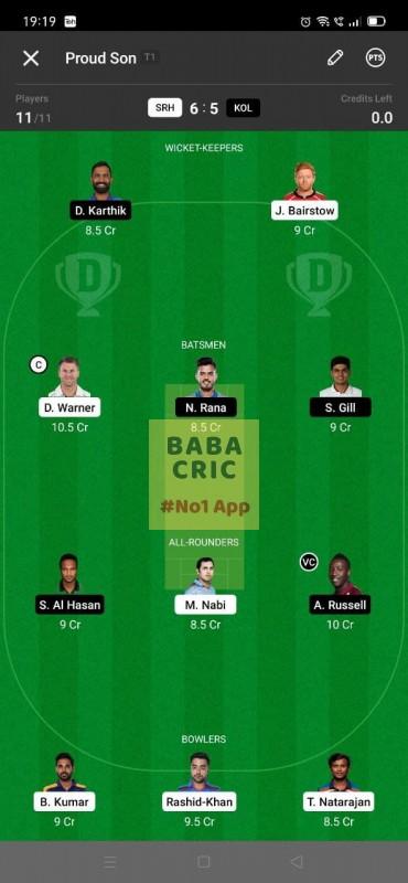 SRH vs KOL - 3rd T20