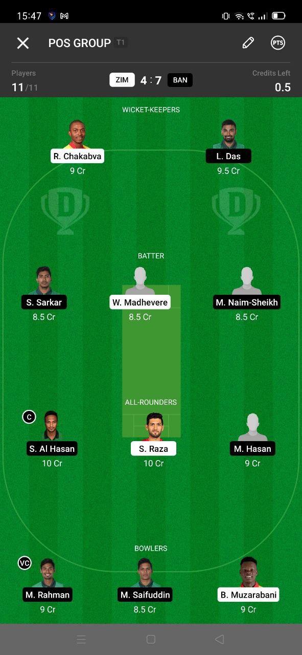 ZIM vs BAN 5th T20I